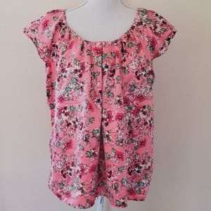 NY Collection coral floral blouse size large